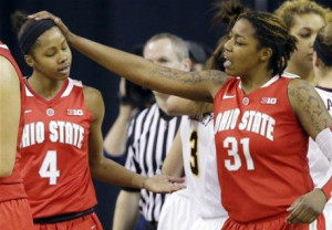 Tayler Hill and Raven Ferguson celebrate after a basket during Ohio State's decisive second half run.