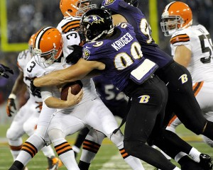 New Brown Paul Kruger sacking QB Brandon Weeden in 2012