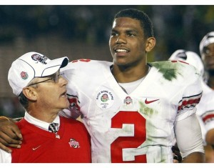 Jim Tressel and Terrelle Pryor after beating Chip Kelly and the Oregon Ducks in the Rose Bowl