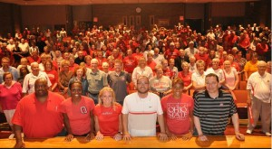 Coach Kevin McGuff and hist staff with Buckeye fans at the OSU women's basketball town hall.