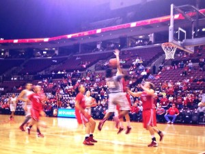 It may be blurry but its also beautiful; Ameryst Alston with the shot that led to the game winning 'and 1'.