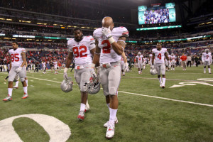 Ryan Shazier and Adolphus Washington after the Big Ten Championship game