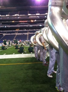 The OSUMB and Spartan Marching Band warming up before morning practice.