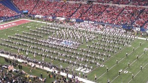 The OSUMB and the Spartan Marching Band combined for the National Anthem.