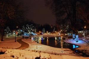 Christmas lights at Mirror Lake